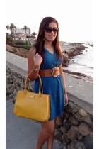 yellow kate spade bag - blue francescas dress - tan francescas belt