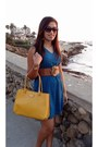 Blue-francescas-dress-yellow-kate-spade-bag-gold-armani-exchange-watch