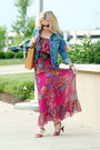 Tan-ripani-bag-magenta-vintage-dress-navy-american-eagle-jacket