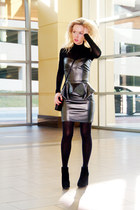 black faux leather HybridFashion dress