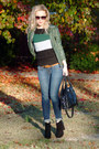 Black-bcbgeneration-boots-navy-hollister-jeans-dark-green-vintage-jacket