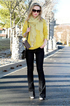 yellow wool Bar III sweater - navy flared WHBM jeans - lime green scarf
