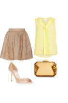 gold Stella McCartney bag - Elizabeth and James skirt - Vila blouse - Aldo heels