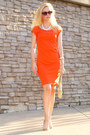 Carrot-orange-banana-republic-dress-lime-green-vintage-purse-nude-aldo-heels
