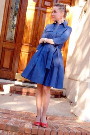 red vintage shoes - blue vintage dress - white vintage necklace