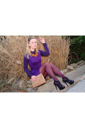 purple bluheaven dress - nude Urban expression bag - deep purple BeFree blouse