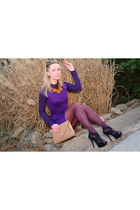 purple bluheaven dress - nude Urban expression bag - deep purple BeFree blouse