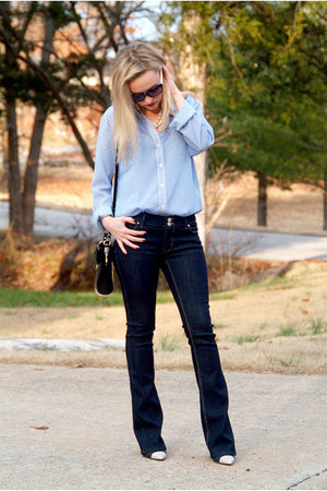 navy denim WHBM jeans - black patent leather TJ Maxx bag