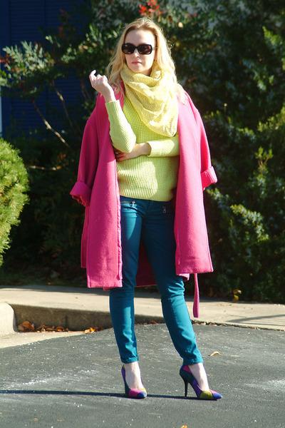 hot pink narciso rodriguez coat - teal Aeropostale jeans