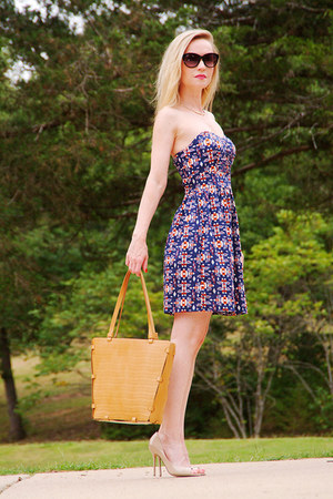 blue BeBop dress - bronze tote Ripani bag - beige glam open toe Aldo heels
