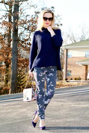 navy oversized Elie Tahari sweater - violet floral print kohls jeans