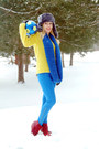 Yellow-bar-iii-sweater-blue-old-navy-scarf-red-pacsun-wedges