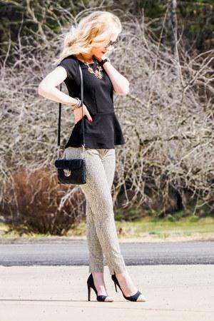 black peplum WHBM top - gray peep toe calvin klein heels