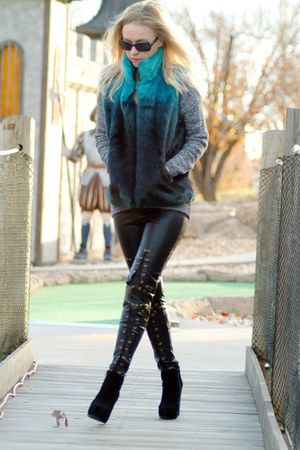 black BCBGeneration boots - heather gray H&M sweater - teal Cejon vest