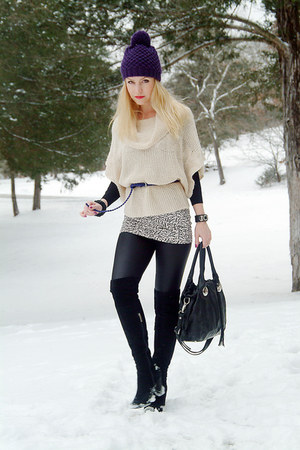 black vintage boots - deep purple Old Navy hat - beige Loft sweater