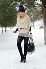 Black-vintage-boots-deep-purple-old-navy-hat-beige-loft-sweater
