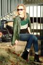Black-bcbgeneration-boots-navy-hollister-jeans-dark-green-vintage-jacket
