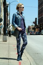 navy Cole Haan boots - navy Wall Flower jeans - navy American Eagle jacket