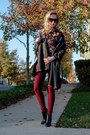 Black-leather-vince-camuto-boots-crimson-floral-print-loft-shirt