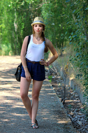 light yellow straw H&M hat - black vintage bag - brown braided Topshop shorts