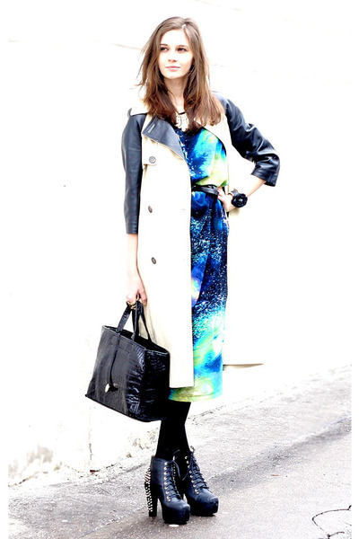 black Jeffrey Campbell boots - blue Christopher Kane dress - black Furla bag