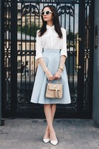 sky blue denim Pepen skirt - nude leather vintage bag