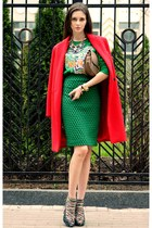 red nowIStyle coat - burnt orange Celine bag - dark green Kenzo jumper