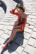 red lace choiescom dress - mustard metallic romwe sunglasses
