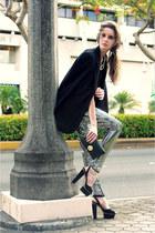 black Massimo Dutti blazer - silver Maison Martin Margiela for H&M leggings