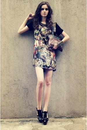 forest green Sheinside dress - black Marni heels