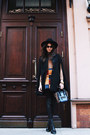 Black-strel-hat-navy-celine-bag-bronze-zara-top-burnt-orange-asos-skirt