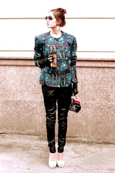 blue vintage jacket - black versace for hm bag - black YSL gloves