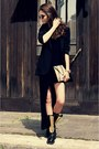 Yellow-gold-choies-boots-black-zara-dress-black-dkny-blazer