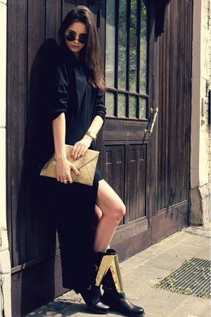 yellow gold Choies boots - black Zara dress - black DKNY blazer