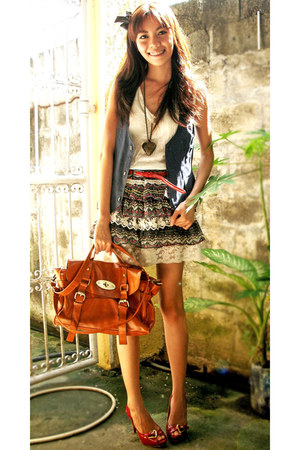 ruby red Leaveland shoes - burnt orange liberte bag - navy Mango vest - blue thr