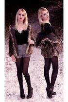 black boots - light brown leopard print coat - black tights