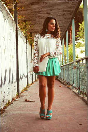 white choiescom blouse - aquamarine Romwecom shorts