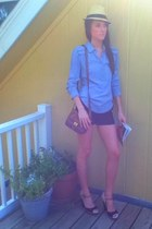 Target hat - Cole Haan purse - BCBGMAXAZRIA shorts - elle wedges