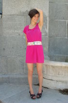 pink free people dress - blue Bimba & Lola shoes - white coach accessories