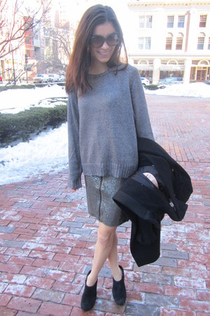 charcoal gray Charlotte Ronson sweater - black suede wedges trouve wedges
