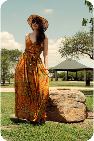 burnt orange maxi dress handmade dress - tan Target hat