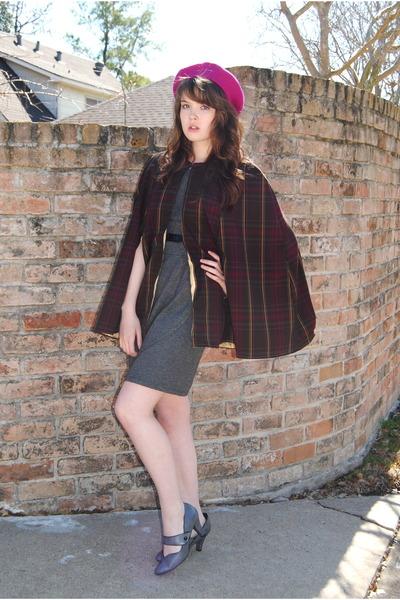 gray Payless shoes - gray dress - hot pink beret Target hat - handmade cape b622a7a7e6b