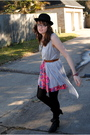 Pink-tracy-feith-for-target-skirt-gray-vest-black-tights-black-target-hat