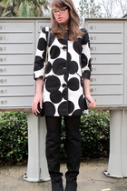 black over-the-knee Aldo boots - white spotted Maggy London dress