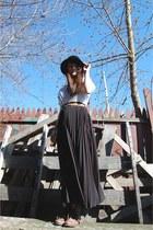 Steve Madden boots - vintage hat - Forever21 shirt - thrifted skirt