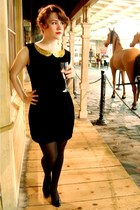 black homemade dress - gold Homemade Collar accessories - black Payless heels