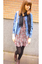 no name jacket - vintage dress - no name scarf - Urban Outfitters accessories -