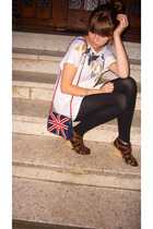 brown Primark shoes - white printoversized H&M shirt