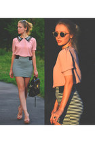 light pink Solilor blouse - black Massimo Dutti bag - black Top Shop skirt