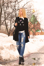 black VJ Style coat - sky blue asos jeans - black Sheinside sweater